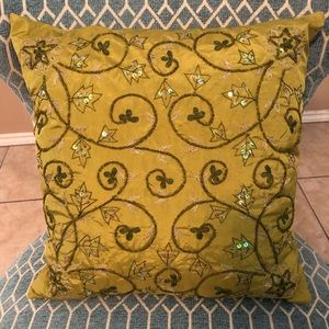 Chartreuse Color Beaded Pillow